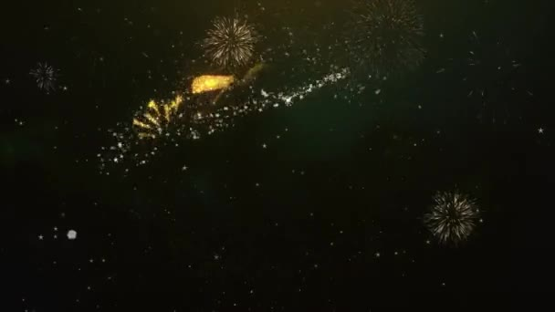 30K Subscribers Text Greeting and Wishes card Made from Glitter Particles and Sparklers Light Dark Night Sky With Colorful Firework 4k Background.