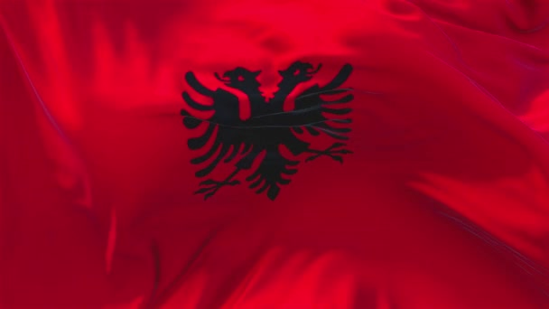 64. Albania Flag Waving in Wind Continuous Seamless Loop Background.