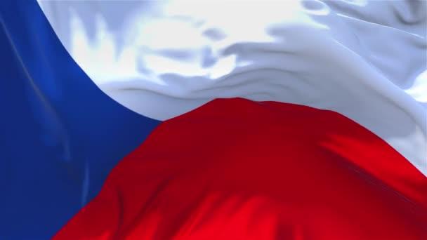 73. Česká republika vlajka mávala vítr sekvencích bezešvé pozadí