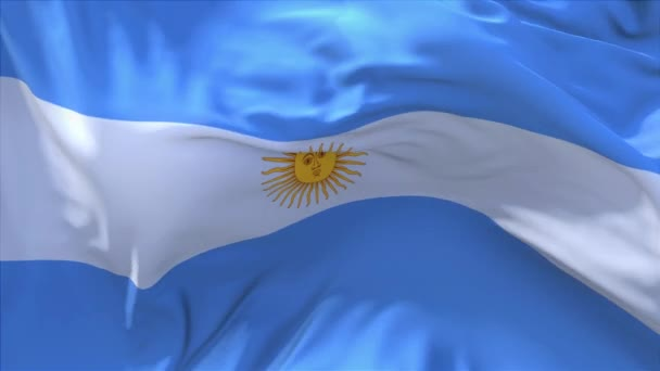 150. Argentina Flag Waving in Wind Continuous Seamless Loop Background.