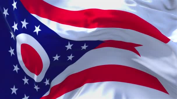 277. Ohio Flag Waving in Wind Continuous Seamless Loop Background.