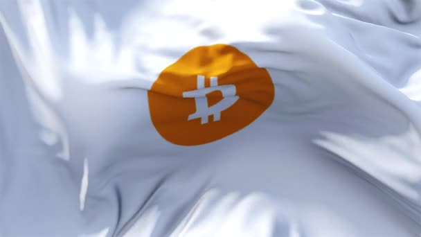 311. bitcoin Flag Waving in Wind Continuous Seamless Loop Background.