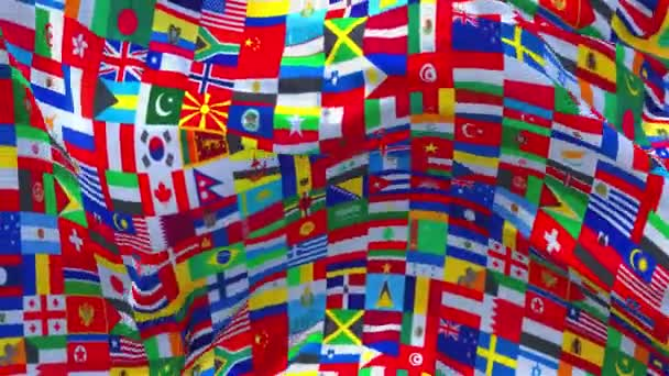 336. Word Multi Country Flag Waving in Wind Continuous Seamless Loop Background.