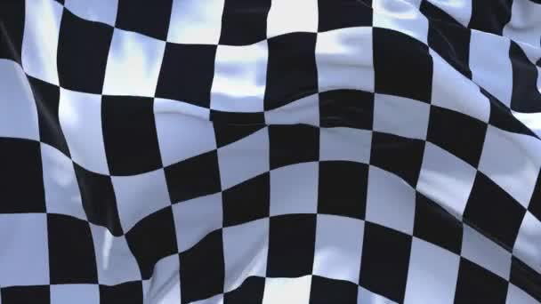 340. racing Chequered Flag Waving in vento continuo Seamless Loop Background.