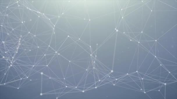 162. Abstraktes digitales Konzept geometrischer Figuren: Polygon-Plexus-Fraktale bewegen sich, verbinden sich zwischen und mit Teilchen. dreieckiges technologisches Konzept nahtlose Schleifenhintergrundanimation
