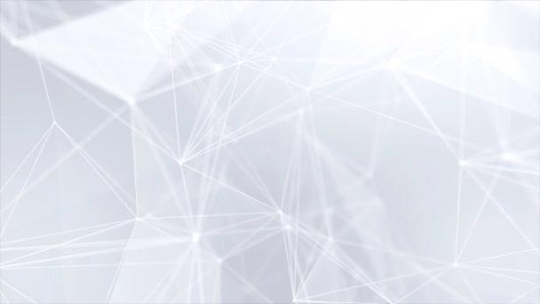 230. astratto Low poly struttura di connessione bianco brillante tecnologia molecola e comunicazione sociale in rete fondo poligonale ciclo di rete. pulisce morbido movimento presentazione professionale di affari