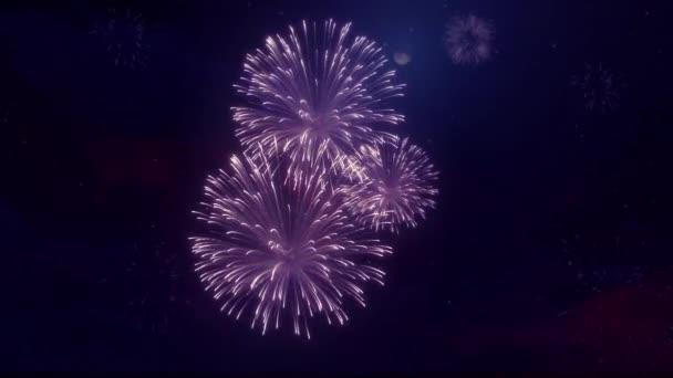 11. nádherná pestrobarevným ohňostrojem na Star sky pozadí smyčky