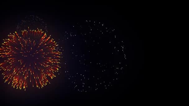 34. Colorful Fireworks Display on the Black Screen Background. Powerful Explosion of Pyrotechnics.