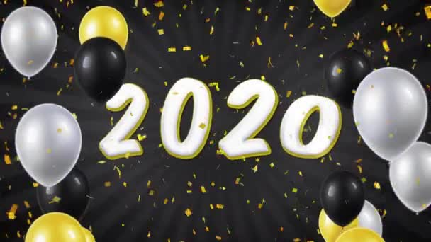 New Year 2020 Animation 07. Happy New Year 2020 Text with Balloons, Confetti Looped Motion