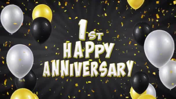 1. 1st Happy Anniversary Black Text Greeting, Wishes, Invitation Loop Background