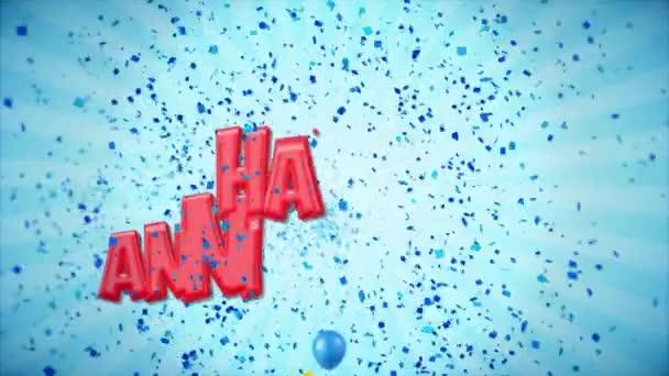 2. 1 červená happy výročí pozdrav a přání s balónky, konfety tvořili pohybu