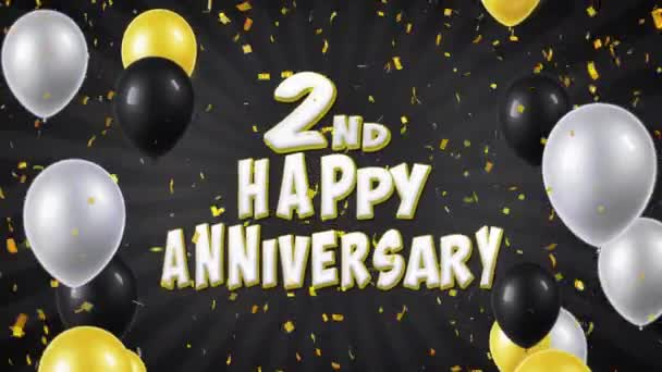 3. 2nd Happy Anniversary Black Greeting and Wishes with Balloons, Confetti Looped Motion