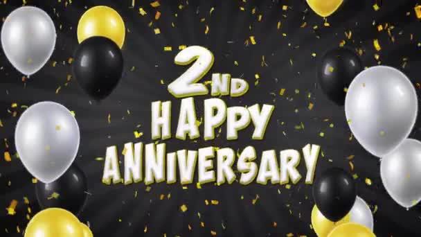 3. 2. Boldog évfordulót fekete léggömbökkel, köszöntés és konfetti végtelenített mozgás