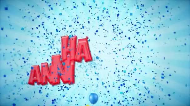 6. 3 šťastné výročí červená pozdrav a přání s balónky, konfety tvořili pohybu