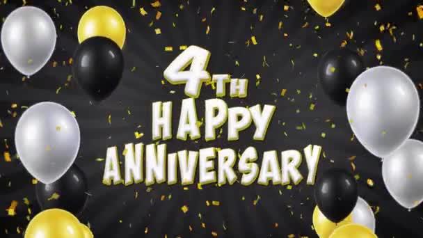 7. 4. šťastné výročí černé pozdrav a přání s balónky, konfety tvořili pohybu