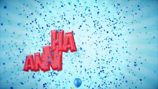 12. 6. šťastné výročí červená pozdrav a přání s balónky, konfety tvořili pohybu