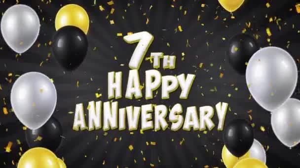13. 7 šťastné výročí černá pozdrav a přání s balónky, konfety tvořili pohybu
