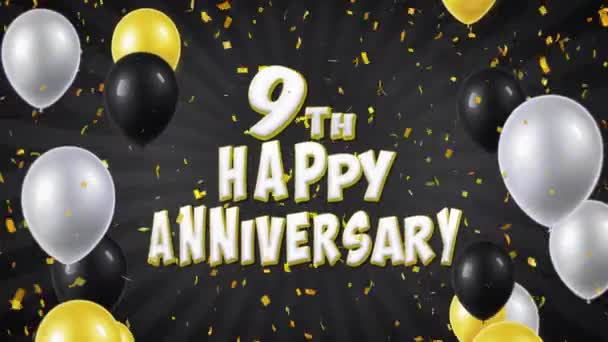17. 9. Boldog évfordulót fekete léggömbökkel, köszöntés és konfetti végtelenített mozgás