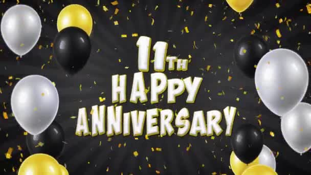 21. 11th Happy Anniversary Black Greeting and Wishes with Balloons, Confetti Looped Motion