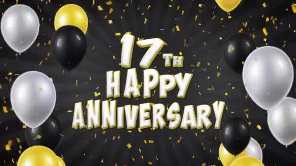 33. 17 šťastné výročí černé pozdrav a přání s balónky, konfety tvořili pohybu