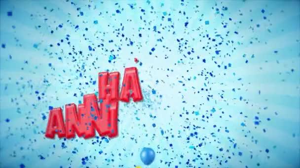 36. 18-án Boldog évfordulót piros üdvözlés és kívánja a ballonokat, konfetti végtelenített mozgás