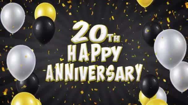 39. 20. Herzlichen Glückwunsch schwarz Gruß und Wünsche mit Luftballons, Konfetti geloopt Motion