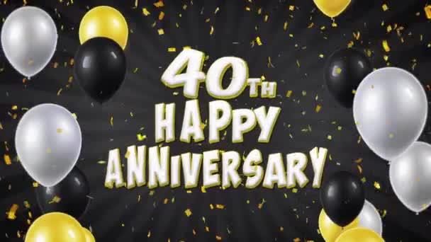 47. 40 Boldog évfordulót fekete léggömbökkel, köszöntés és konfetti végtelenített mozgás
