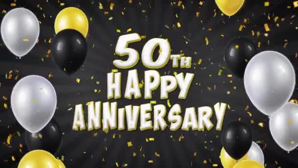 51. 50. šťastné výročí černé pozdrav a přání s balónky, konfety tvořili pohybu