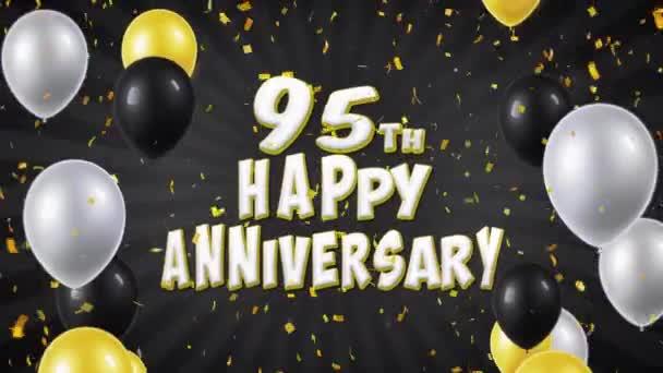 69. 95. šťastné výročí černé pozdrav a přání s balónky, konfety tvořili pohybu