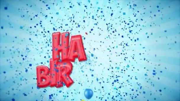 02. 1 šťastné narozeniny pozdrav a přání s balónky, konfety tvořili pohybu