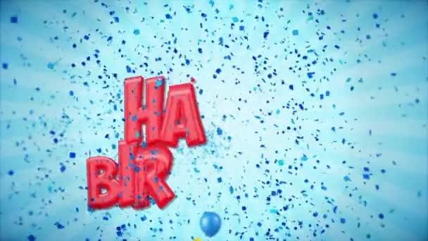 12. 6. Šťastné narozeniny pozdrav a přání s balónky, konfety tvořili pohybu