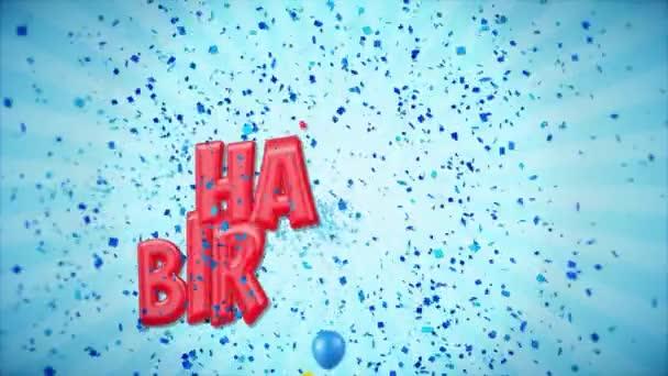 16. 8. Šťastné narozeniny pozdrav a přání s balónky, konfety tvořili pohybu