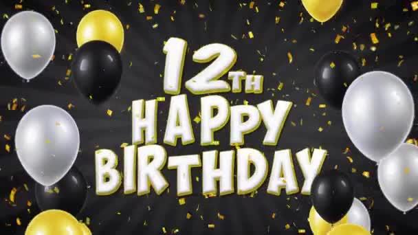 23. 12. happy Birthday černý Text s Golden konfety pádu a Glitter částice, barevné létající balóny bezešvé smyčka animace za pozdrav, pozvánka, večírek, oslava, Festival.