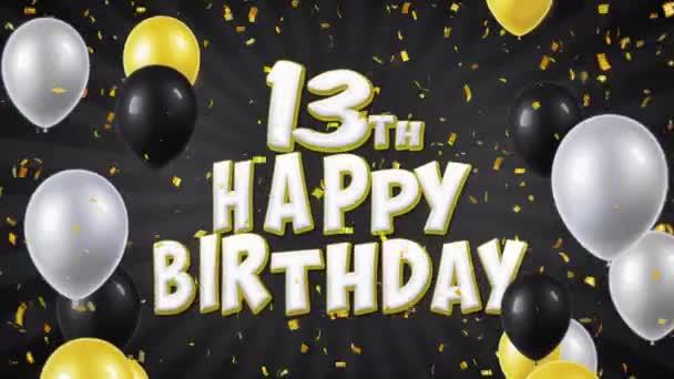 25. 13 narozeninám černého textu pozdrav, přání, pozvání smyčky pozadí