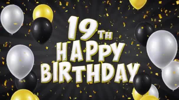 37. 19. Boldog születésnapot fekete szöveg üdvözlés, kívánság, pályázati hurok háttér