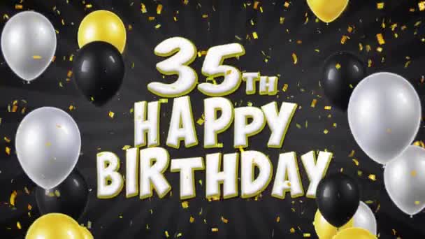 35th Happy Birthday Black Text Greeting Wishes Invitation Loop Background Stock Footage