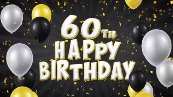 55. 60th Happy Birthday Black Text Greeting, Wishes, Invitation Loop Background