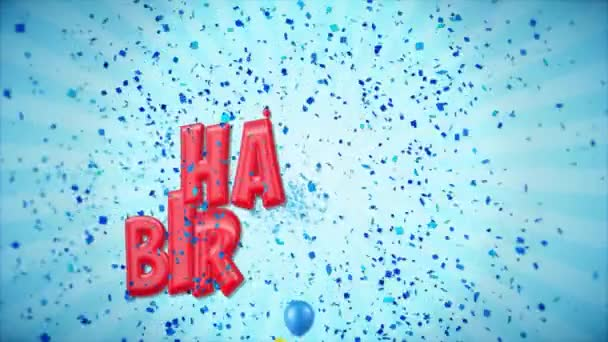 58. 65. Boldog születésnapot piros üdvözlés és kívánja a ballonokat, konfetti végtelenített mozgás