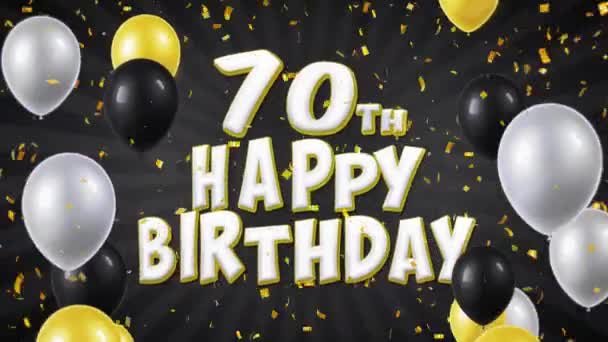 59. 70 happy Birthday černý Text s Golden konfety pádu a Glitter částice, barevné létající balóny bezešvé smyčka animace za pozdrav, pozvánka, večírek, oslava, Festival
