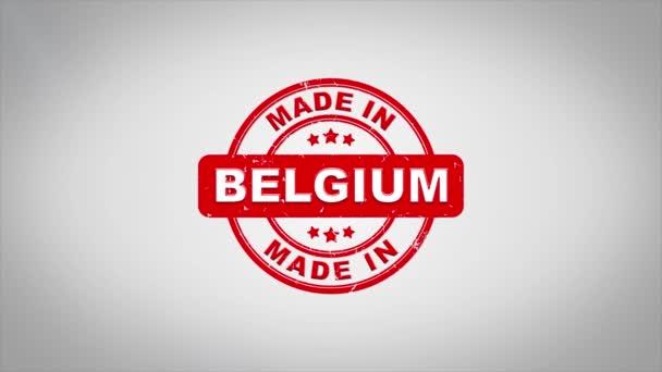 Vyráběno v Belgii podepsal, lisování dřevěné razítko animace textu.