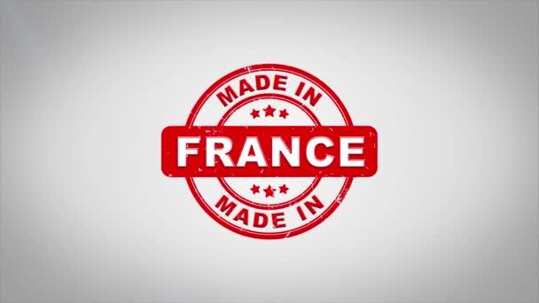 Ve Francii podepsal, lisování dřevěné razítko animace textu.