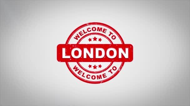 Willkommen in London unterzeichnet Stanzen Holz Stempel Textanimation.