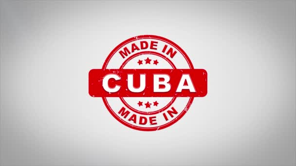 V Kubě podepsal, lisování dřevěné razítko animace textu