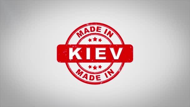 V Kyjevě podepsal, lisování dřevěné razítko animace textu