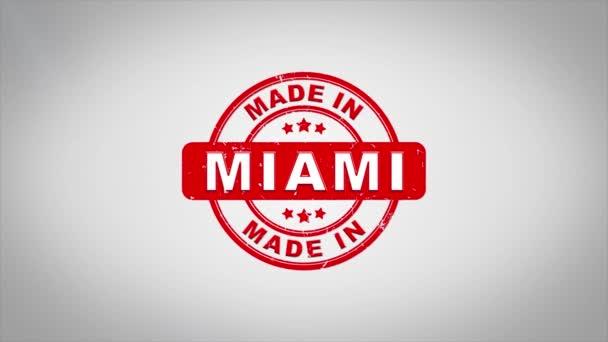 V Miami podepsal, lisování dřevěné razítko animace textu.