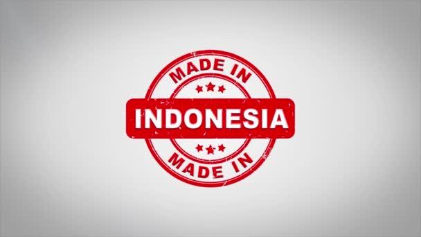 Vyrobeno v Indonésii podepsal, lisování dřevěné razítko animace textu.