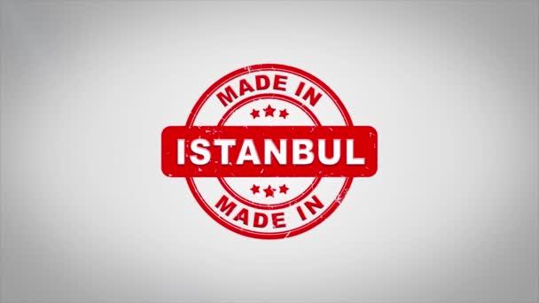 V Istanbulu podepsána, lisování dřevěné razítko animace textu.