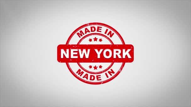 V New Yorku podepsána, lisování dřevěné razítko animace textu