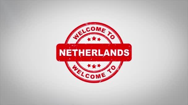 Vítejte v Nizozemsku podepsal razítkování dřevěné razítko animaci textu.