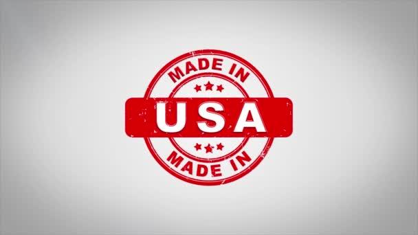 Vyrobeno v Usa podepsána, lisování dřevěné razítko animace textu.